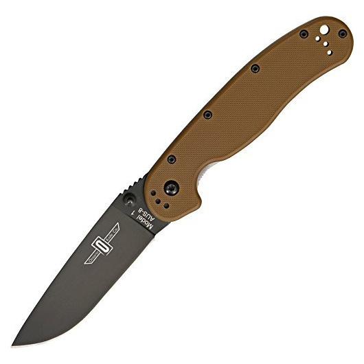 Ontario Rat Folder 1 коричневая рукоять черный клинок